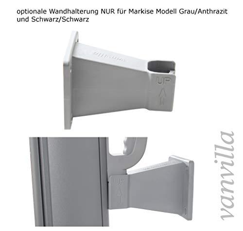vanvilla Wandhalterung für Seitenmarkise Modell GRAU/ANTHRAZIT und SCHWARZ/SCHWARZ Wandbefestigung Auszugsfixierung