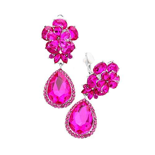 Schmuckanthony Hoernel - Pendientes largos de clip con diseño de flor y gotas de cristal rosa fucsia de 5 cm de largo
