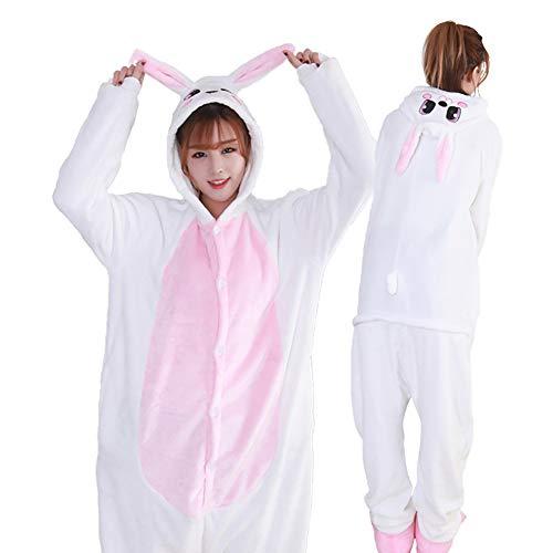 SLDAGe Onesies Deguisement Animaux,Mignon Lapin De Bande Dessinée Pyjamas Femmes Adultes Hommes Animal Cosplay Halloween Homewear,1,M