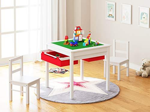 UTEX Table Set 2 in 1 Kinder BAU Spieltisch mit Schubladen und eingebauten Platte (weiß mit roter Schublade)