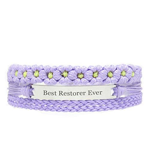 Miiras Job Handmade Bracelet for Women - Best Restorer Ever - Purple FL - Made of Braided Rope and Stainless Steel - Gift for Restorer