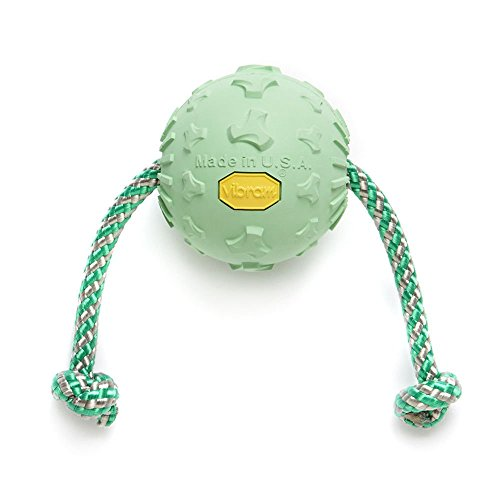 Vibram Ball WR 4'' ras Ball WR 4'' Green - Dog Ball with Rope Pet Toys - Hund Ball mit Seil - Haustiere Spielzeug