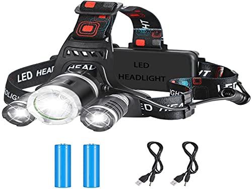 Anlising Linterna Frontal LED Impermeable Ajustable, Linterna Frontal Recargable USB Portátil, 4 Modos de Iluminación, para Exteriores, Camping,Senderismo,Trabajo,Pesca,con 18650 Baterías Recargables 🔥