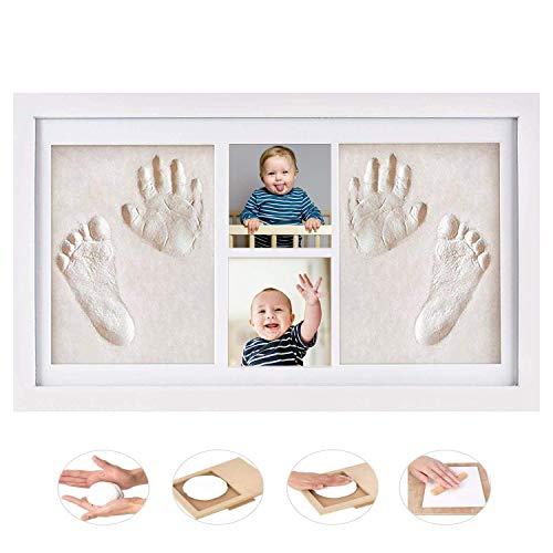 GSSUCCESS bebé Handprint y Marco de huella Inkpad de fotos Regalos Babyparty seguros y elegantes Elegante blanco de madera sólida para recién nacidos/bebé Regalos,Blanco no tóxico