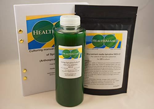 HealthAlgae Spirulina platensis Diretta (500 ml) + 10 L di Spirulina secca coltivata Media SSD1 + 2 - Coltura di alghe + Fertilizzante (500+10)