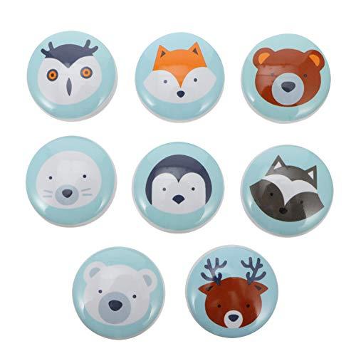 IMIKEYA 8Pcs Pomello del Cassetto in Ceramica del Fumetto Decorativo Animale Armadio Pomello Estraibile Manopole Armadio Maniglia Armadio Comò Mobili Accessori