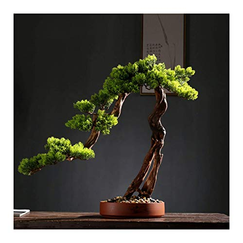 ZYYH Artificial Potted Plants Cedar Bonsai Artificial Tree in Ceramic Pot 11.8 Inches for Office or Home Decor Greenery, Faux Potted Houseplant, Green Artificial Tree (Color : C)