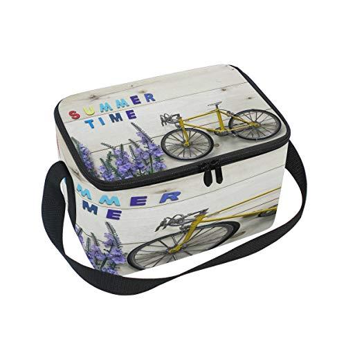 Use7 Lunchbox für Sommer, Fahrrad, Holz, Isoliert, für Picknick, Schule, Damen, Herren, Kinder