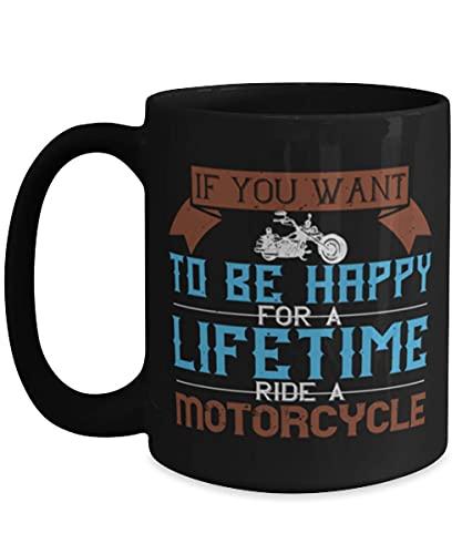 N\A Taza de café Motero - Si Quieres ser Feliz - Negro