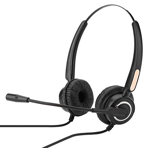 Corded Headset with Noise Cancelling Mic, 2.5mm Call Center Headphone, Office Wired Headset, Stretchable Over Ear Headphone for Cell Phone, Skype, Truck Driver, Call Center