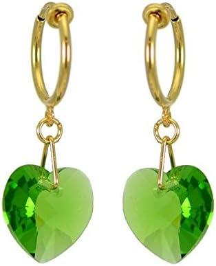CERCEAU VALENTINE Gold Plated Fern Green Heart Crystal Clip On Earrings