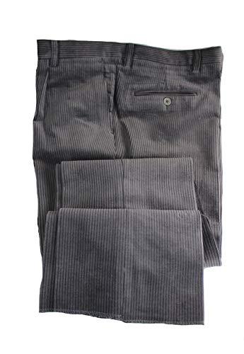 Profili di Toscana.Pantalone Uomo Velluto Duca Visconti di Modrone Elasticizzato.Taglie Forti.Made in Italy (52, Grigio)