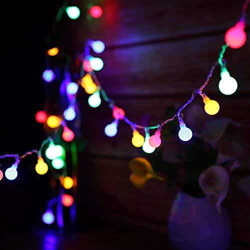Guirnalda Luces Exterior,Tomshine Cadena Luz 13M 100LED Multicolor Bola decorativa con control remoto iluminación Brillo Ajustable Luminoso de Exterior para la Fiesta de Navidad, Dormitorio, Jardín
