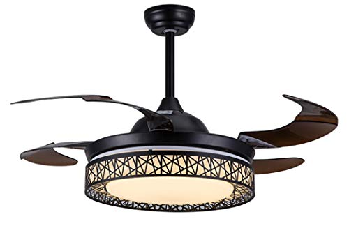 Moooni Dimmable Fandelier Retractable Ceiling Fans with Lights and Remote Modern Invisible Chandelier Fan Art Deco Black 42""