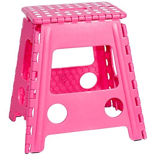 JeVx Taburete Plegable Multiuso Antideslizante, Peldaño de 39,5 cm de Altura para Adultos y niños Color Rosa, Tamaño XL,...