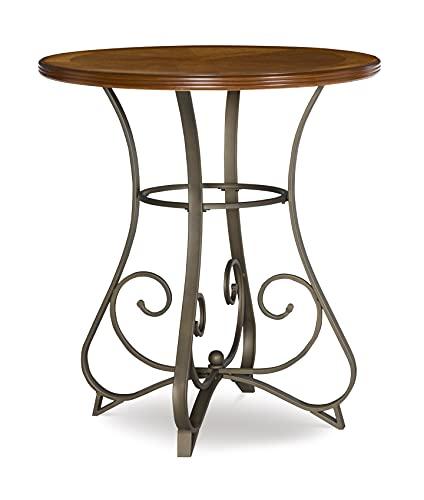 Powell 697-404 Hamilton Pub Table, Brushed Faux Medium Cherry wood Matte Pewter & Bronze metal 36' x 36' x 42' tall