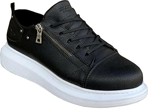 Knack 555 - Zapatos para hombre, estilo casual, para uso diario, ligeros, transpirables, para caminar, color negro (suela blanca), Black, 43.5 EU