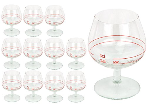 12er Set Cognacschwenker CASINO mit Rotring, 2 cl + 4cl, geeichtes Cognacglas für Genießer mit Füllstrich, Likörglas, Schnapsglas für edle Tropfen, hochglänzendes Markenglas, Spirituosenglas klar
