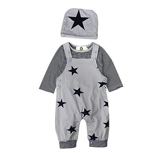 T TALENTBABY Neugeborenes Baumwoll-Outfits Kleidung Strampler, T-Shirt-Oberteile mit Streifen + Latzhose + Hut mit Stern-Stickerei-Body-Overall, Grau, 3-6 Monate