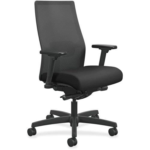 HON Ignition 2.0 Mid-Back Adjustable Lumbar Work Chair - Black Mesh Computer...