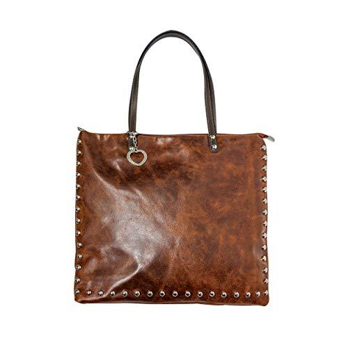viannchi Bolso moda italiana, piel autentica 100%, con tachuelas estilo Uban