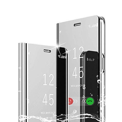 TOPOFU für LG K51S/K41S Hülle, Plating Smart Clear View Hülle Flip Handyhülle mit Standfunktion Anti-Scratch Bookstyle Tasche Schutzhülle für LG K51S/K41S (Silber)