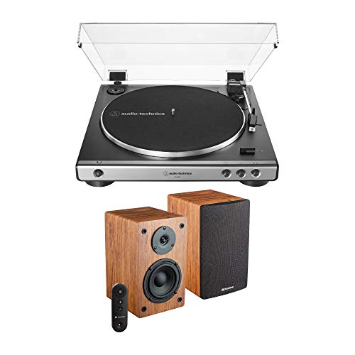 Audio-Technica AT-LP60X-GM Turntable (Gunmetal) Bundle with Knox LP1 Powered Bookshelf Speaker Pair (2 Items)