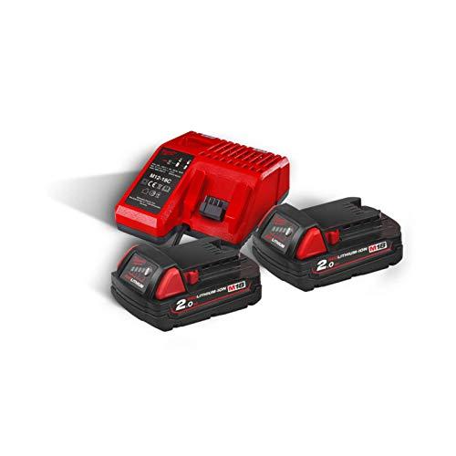 Milwaukee Akku-Starterset M18 NRG-202 18V 2.0Ah, 2 Akkus + Schnellladegerät, Batterie, Charger, Ladestation