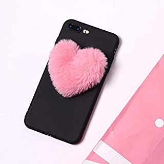 Twinlight for Coque iPhone Xs Max Case 3D Love Heart Fur Ball Cute Soft Cover for iPhone 7 8 Plus X XS XR Case Winter Candy Color (Black, for iPhone X XS)