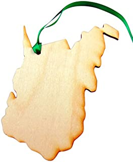 State of West Virginia Wooden Christmas Ornament Boxed Gift Handmade in The U.S.A.