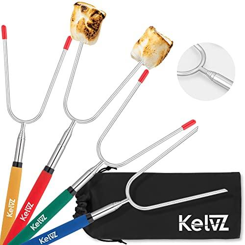 KelvZ Set of 4 Telescoping Marshmallow Roasting Sticks with Bag &...