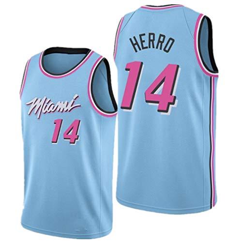 Maglia Vintage da Uomo Basketball Jersey Heat #14 Herro Maglie estive Pallacanestro Uniforme, Ricamo Traspirante e Resistente T-Shirt Top Maglie Tuta da Basket Maglia