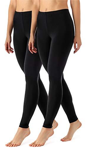 Merry Style Lote de 2 Leggins Largos Mallas Deportivas Mujer MS10-143 (Negro/Negro, XL)