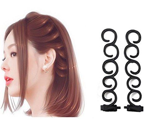 2 x Schwarzes Flechtwerkzeug, 13,5 cm lang, Kunststoff, für Frisuren, Haarklammer, Haarspange