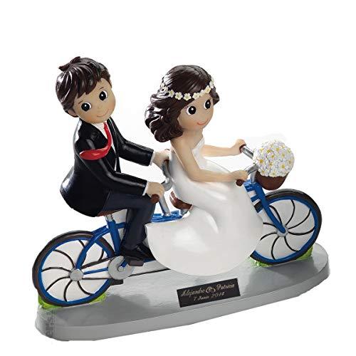 Figura de boda, novios en bici, figura para pastel PERSONALIZADA con placa grabada