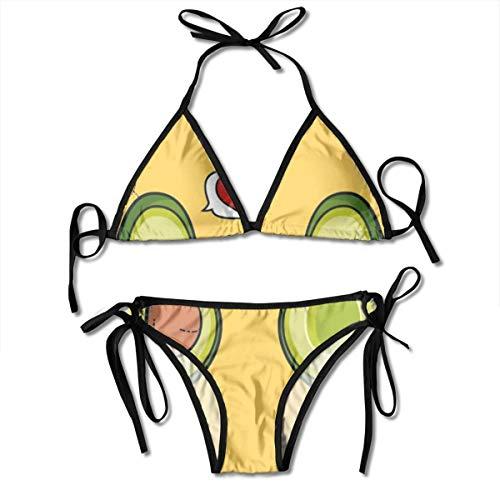 Frauen Cartoon lustige Avocado-Ikone mit schwarzen zweiteiligen Bikini-Sets 2-teilige Badebekleidung Beachwear Plus Size Badeanzug