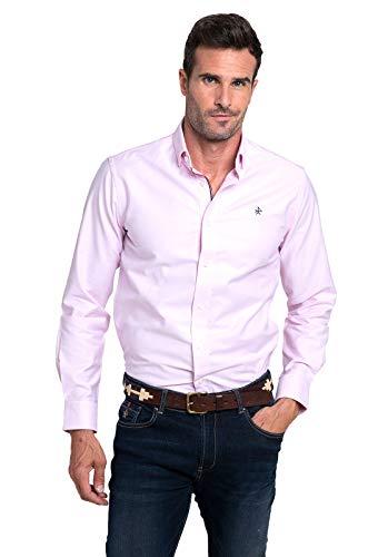 Valecuatro Camisa para Hombre Manga Larga, Camisa Cuello Oxford