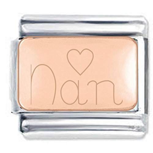 Nan Heart Engraved Charm in Rose Gold Plate finish - Fits all 9mm Italian Style Charm Bracelets