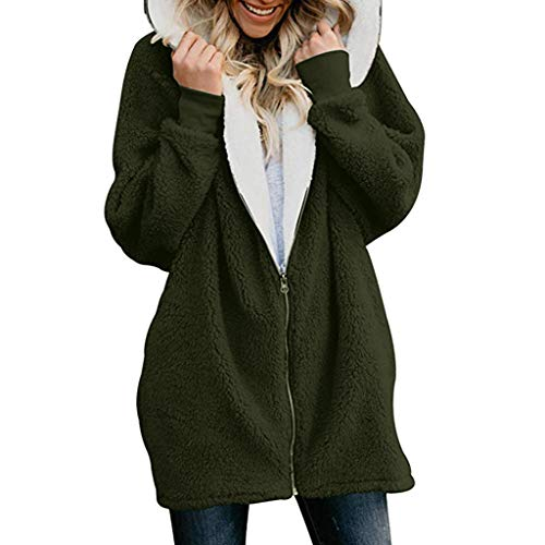 Fastbot Sherpa Jacket Women Shearling Hooded Pocketed Fluffy Cardigan Zipper Coats Cozy Warm Long Outwear Plus Size Green
