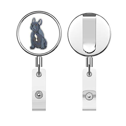 French Bulldog Round ID Badge Key Card Tag Holder Badge Retractable Reel Badge Holder with Belt Clip