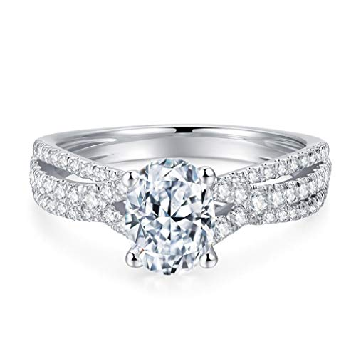Petite Twisted 1.5 Carat Oval Cut Cubic Zirconia CZ Engagement Rings Simulated Diamond Rhodium Plated Sterling Silver Rings|Ideal Cut, D-E Color, FL Clarity