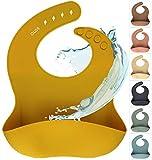 Silikon Baby Lätzchen mit Auffangschale | Silikonlätzchen Mustard | BPA-frei, Ergonomisch, Wasserdicht, Abwaschbar & leicht zu reinigen (Mustard, Senf, Gelb)