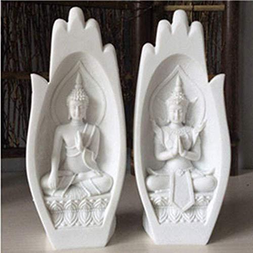 XH&XH 2 Unids/Set Figura de Buda de Piedra Arenisca Estatua de Buda de Piedra Arenisca Estatuas de jardín Esculturas Estatuas de Budismo para decoración (Color: 01)