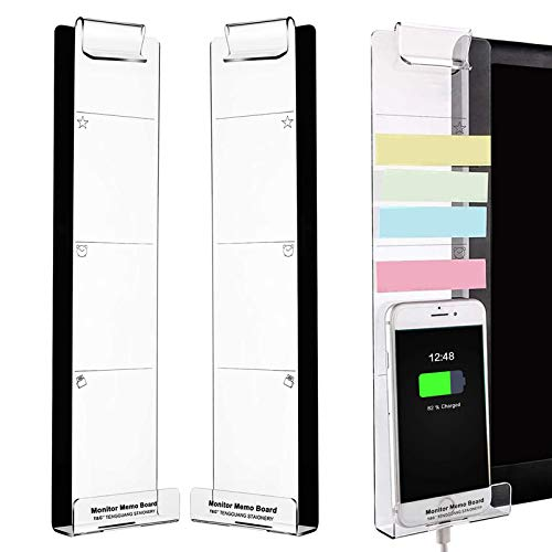 Monitor Memo Board, Multifunction Acrylic Transparent Message Memo Holder, Sticky Note Holder and Phone Holder, Memo Clip Creative Notes Board for Office Home Desktop Organizer 2 Pcs (Left and Right)