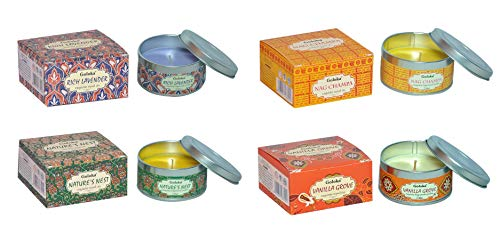Goloka Aromatic Tin Scented Candle - Pack of 4 Includes Nag Champa, Rich Lavender, Vanilla Grove, Nature's Nest Assorted Mixed Scents. Exquisite Travel Tin