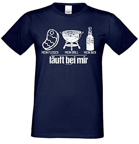 Fun T-Shirt für Männer Motiv Mein Fleisch - Mein Grill - Mein Bier - Herren Shirt zum Grillen - lustige Grill Geschenke Gr: L