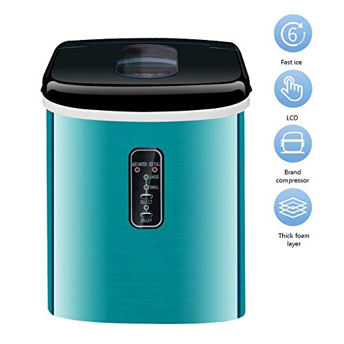 DBSCD Máquina automática de Hacer Hielo, máquina de Hacer Hielo Redondo de 16 kg/24 h para la Familia, pequeña cafetería Familiar, marrón