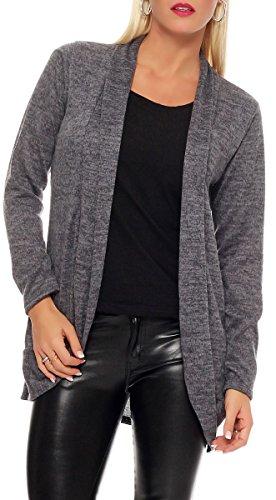 Malito Damen Strickjacke lang | Cardigan im eleganten Design | Angesagter Oversize Look - Weste - Jacke 5021 (grau)