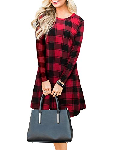 Blooming Jelly Women's Plaid Swing Dress Long Sleeve Round Neck Tunic Mini Dress (X-Large, Red)