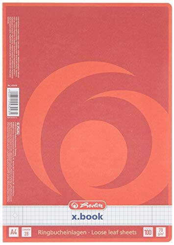 Herlitz 432435 Ringbucheinlage A4, 100 Blatt, Lineatur 28 (kariert mit 2 Rändern), 5 Packungen